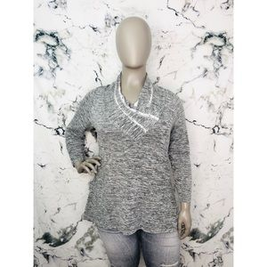 Style&Co Cowl Neck Long Sleeve Top Heathered Grey